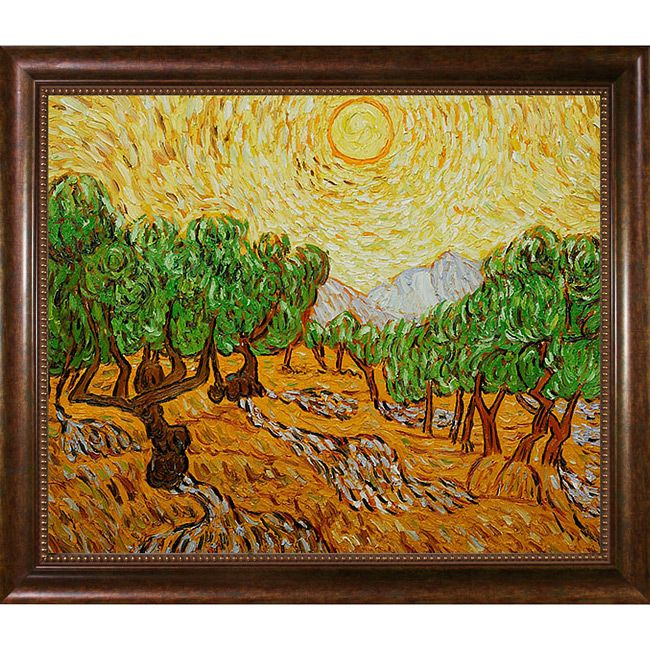 This is a hand-painted oil reproduction of one of the most famous Van Gogh paintings, Olive Trees with Yellow Sun and Sky. The original masterpiece was created in 1889. Today it has been carefully rec