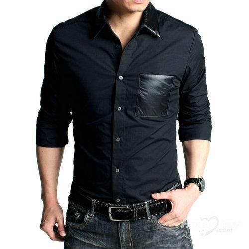 Fashion Skinny Black Shirt for Men Online