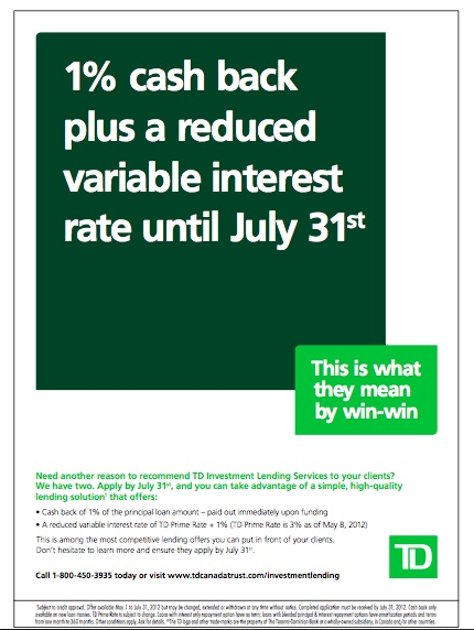 Print ad for TD Investment Lending Services