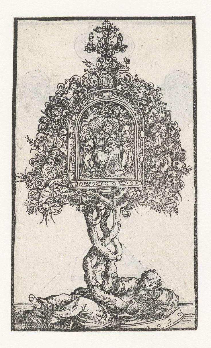 Lucas Cranach (I)   Reliekhouder met de boom van Jesse en Maria met kind, Lucas Cranach (I), 1509 - 1549   Reliekhouder met de boom van Jesse rondom voorstelling van Maria met kind. De boom wortelt in de liggende figuur van Jesse op de voet van de reliekhouder.