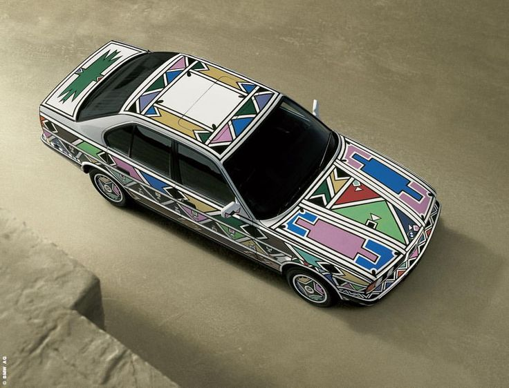 #EstherMahlangu was the first artist from Africa to create a #BMWArtCar, the #BMW 525i. She painted it in the traditional colours of the Ndbele tribe, using a chicken feather brush.