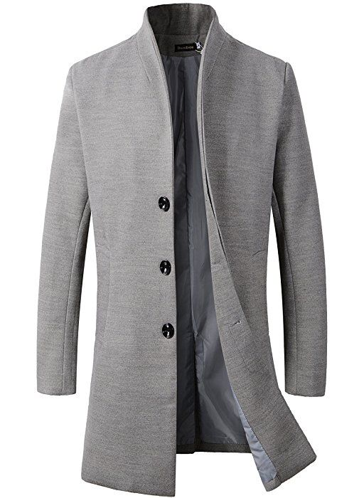 benibos men\u0027s trench coat winter long jacket button closer overcoat  benibos men\u0027s trench coat winter long jacket button closer overcoat (xs, burgundy) at amazon men\u0027s clothing store