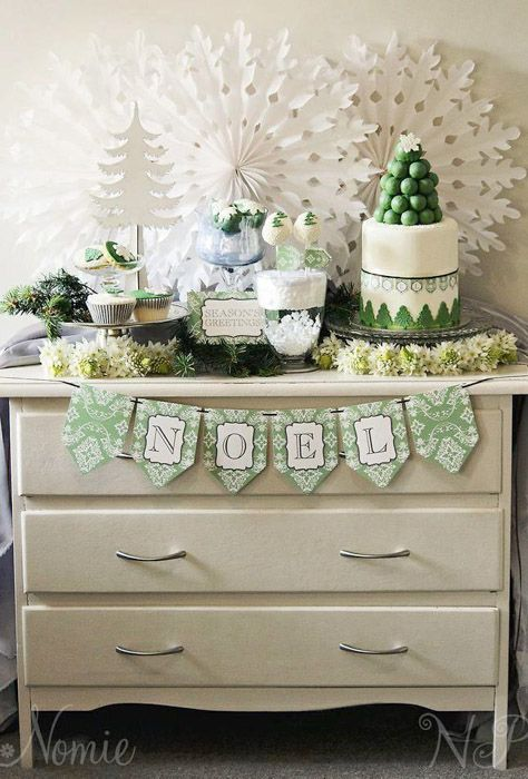 Love the asymmetry and how it works for a small gathering. Green and White Christmas Dessert Table