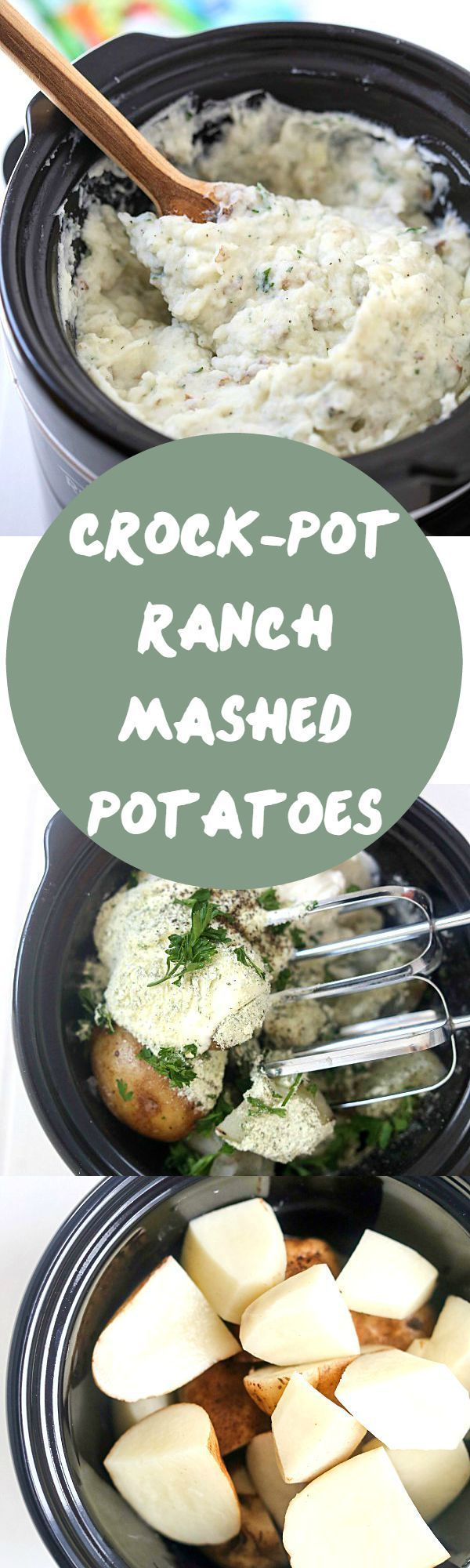 Crock-Pot Ranch Mashed Potatoes - The creamiest and silkiest mashed potatoes ever! We love mashed potatoes with sour cream to create the perfect texture. Mashed potatoes in the crockpot are SO easy!