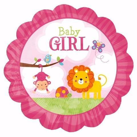 "12"" Baby Girl Safari Balloon for Low Elevations"
