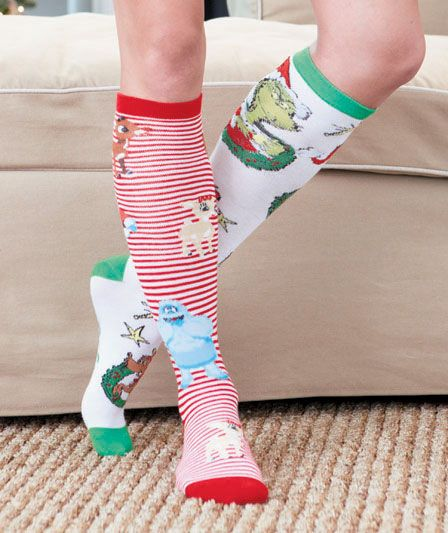 Holiday Knee-High Socks, Rudolp the Red-Nosed Reindeer & The Grinch