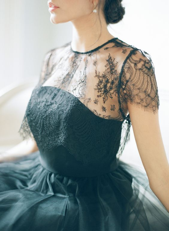 black wedding dress by Alexandra Grecco Lace Elliot Blouse. Photo - Elizabeth Messina: