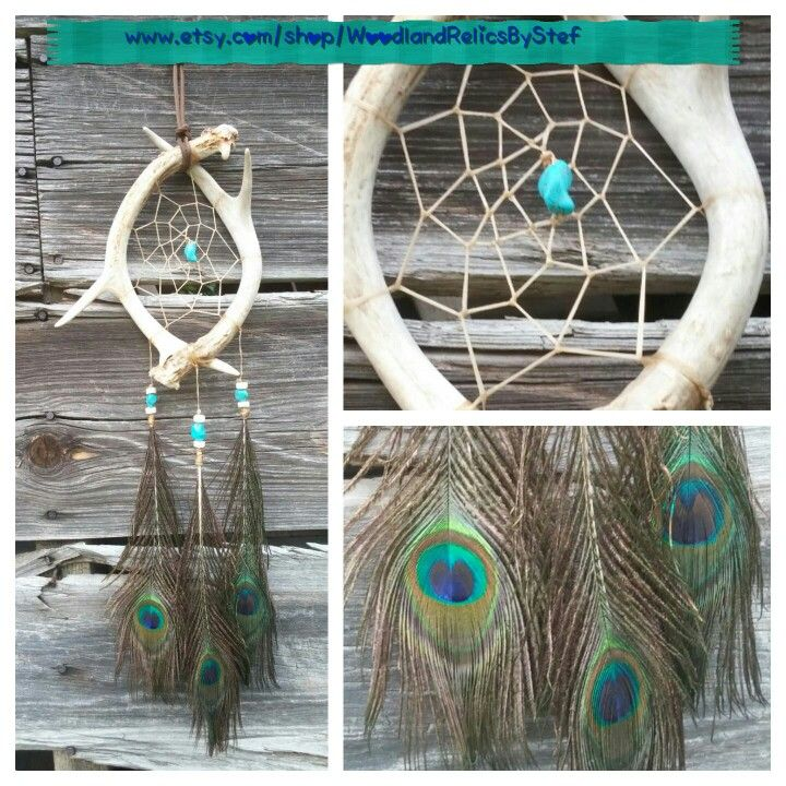 Deer Antler & Peacock Feather Dream Catcher w/ Buffalo Bone & Turquoise Beads. www.etsy.com/shop/WoodlandRelicsByStef