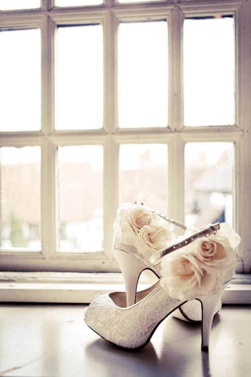 There are the most perfect wedding shoes ever! You could always add fabric flowers to a plain pair of shoes if you can't afford the designer kind!