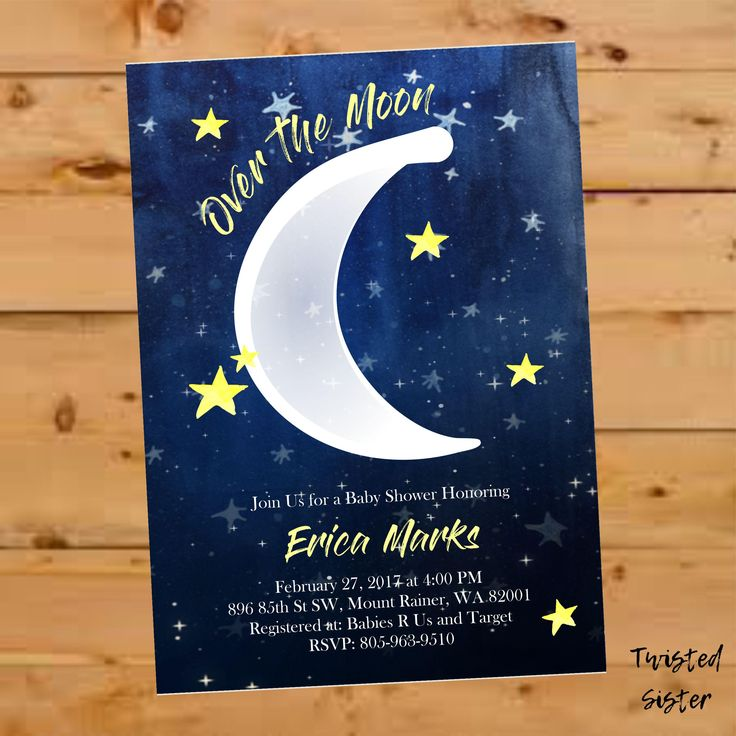 baby shower bbq invitation templates%0A Over the Moon Baby Shower Invite  Moon and Stars Baby Shower Invitation   Gender Neutral