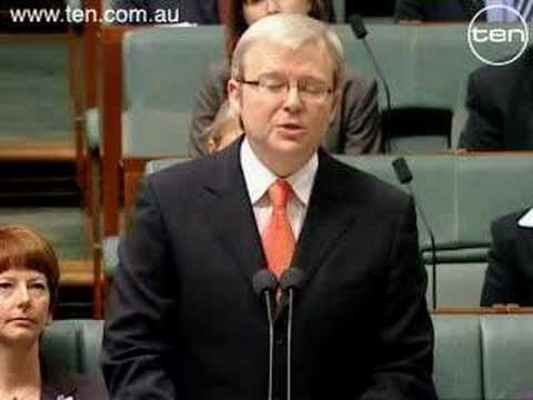 "Sorry, Kevin Rudd's Apology to ""The stolen Generation"". This was a momentus day in Australian history."