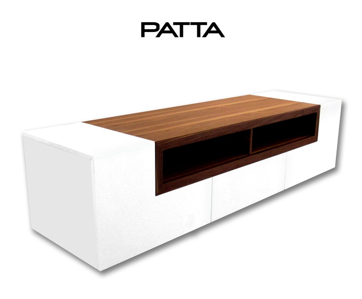 Bellini Modern Patta White TV Media Stand with Light Walnut F32089- Our price $1,240.00