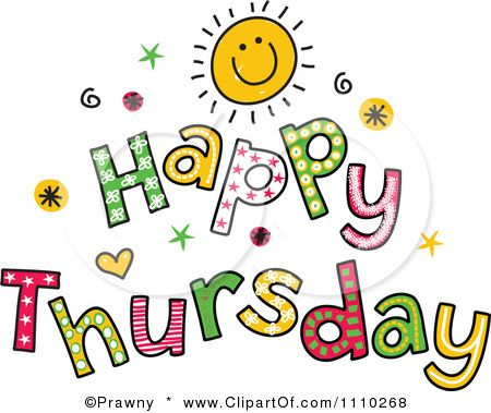 1110268 Clipart Colorful Sketched Happy Thursday Text