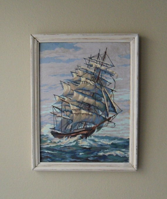 Vintage PaintbyNumber of Ship by UptownHeirloomCo on Etsy, $125.00
