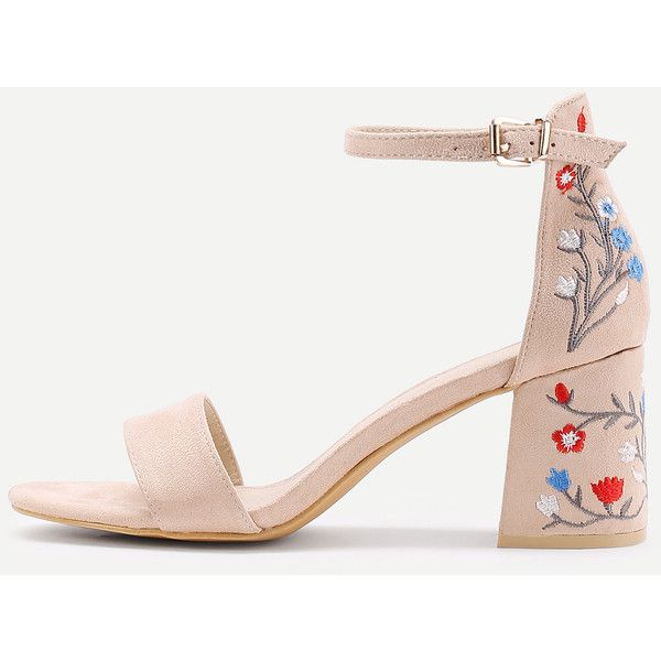 SheIn(sheinside) Flower Embroidery Two Part Block Heeled Sandals ($36) ❤ liked on Polyvore featuring shoes, sandals, apricot, mid heel sandals, mid heel shoes, peeptoe shoes, colorblock sandals and block shoes