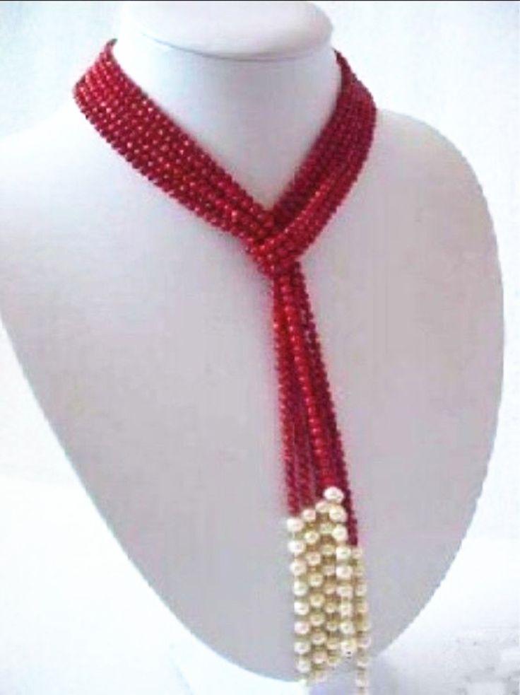 Мода 5 мм очаровательный красный искусственного коралл белый жемчуг круглые бусины оригинальный дизайн шарф ожерелье партия довольно подарки 50inchMY4603