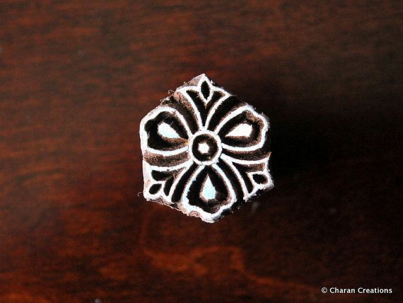 Soap stamp, ceramic stamp, textile stamp, Indian wooden stamp, Tjaps-Tiny stylized flower   – ethnic pattern