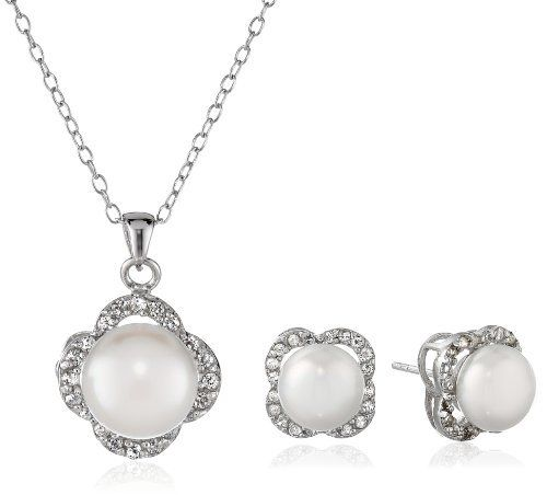 Sterling Silver Freshwater Cultured Pearl and White Topaz Pendant Necklace and Earrings Jewelry Set, http://www.amazon.com/dp/B00IXH6T52/ref=cm_sw_r_pi_awdm_g6pFtb0HXD1PE