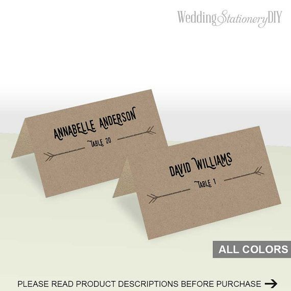Modern rustic table place card template by WeddingstationeryDIY