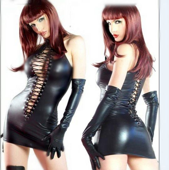 Wholesale New Arrival Latex Costume Faux Leather Mini Party Dress Vinyl PVC Clubwear Sexy Latex Nightdress