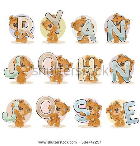 Names for boys Ryan, John, Jose made decorative letters with teddy bears