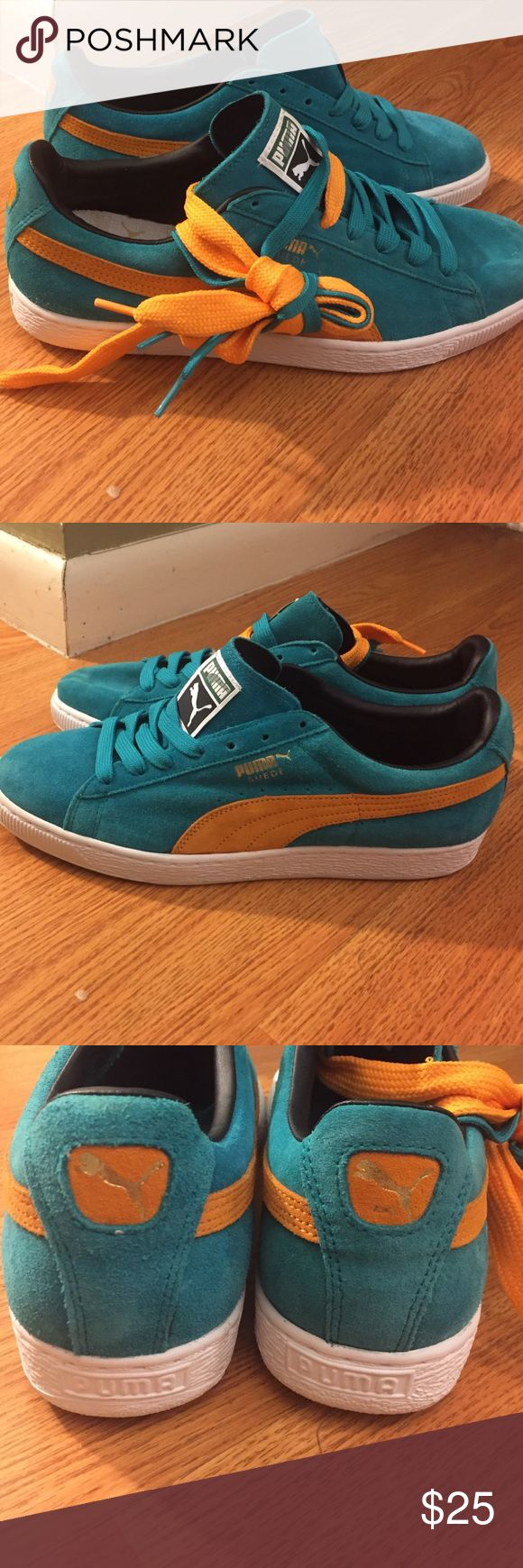 Brand new never worn men's Puma sneakers Never worn, brand new mans Puma sneakers. Bluish green suede with oOrange Puma stripe. Comes with both colored laces. Size 9 1/2. Very comfortable. Stylish! Perfect holiday gift for any boy or man in your life 😁 Puma Shoes Sneakers