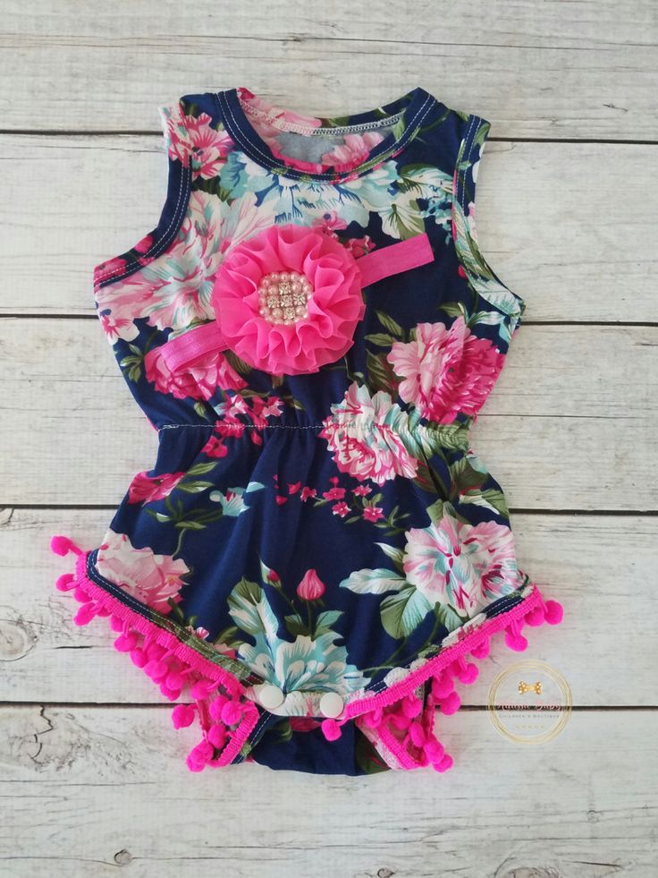Baby Girl Romper Baby Girl Pom Pom Romper Girl First Birthday Outfit Baby Girl Outfit Navy Romper Girl Navy Outfit Pink Romper by AdassaBaby on Etsy