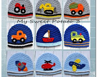 Boys Hat - Construction, Farm, Air, Water - Crochet Hat