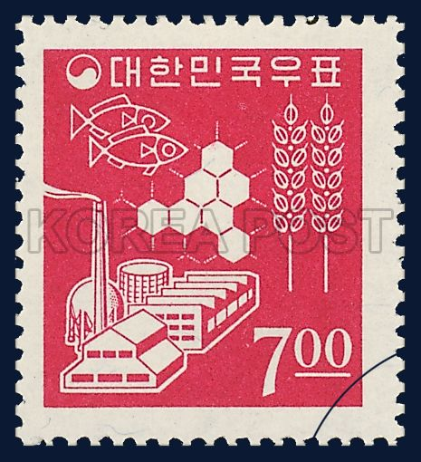 REGULAR STAMPS, farming, fishing industry, deposit, Industry, red, ivory, 1966 01 01, 보통우표, 1966년 01월 01일, 489, 농업, 수산업, 공업 및 저축, postage 우표