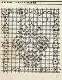 Rectangular zigzag tablecloth with flowers