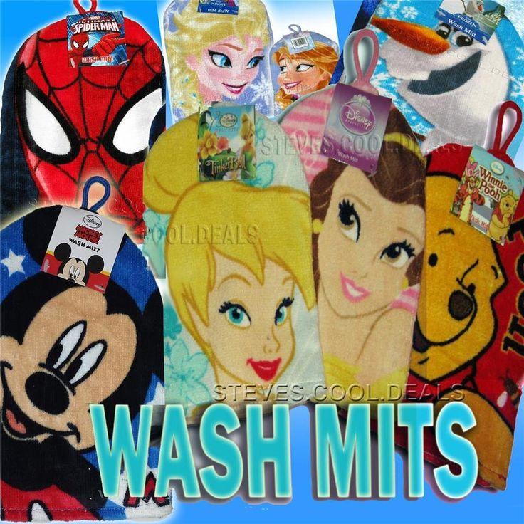 KIDS WASH MITT BATH FLANNEL FACE CLOTH DISNEY PRINCESS FROZEN MICKEY SPIDER MAN