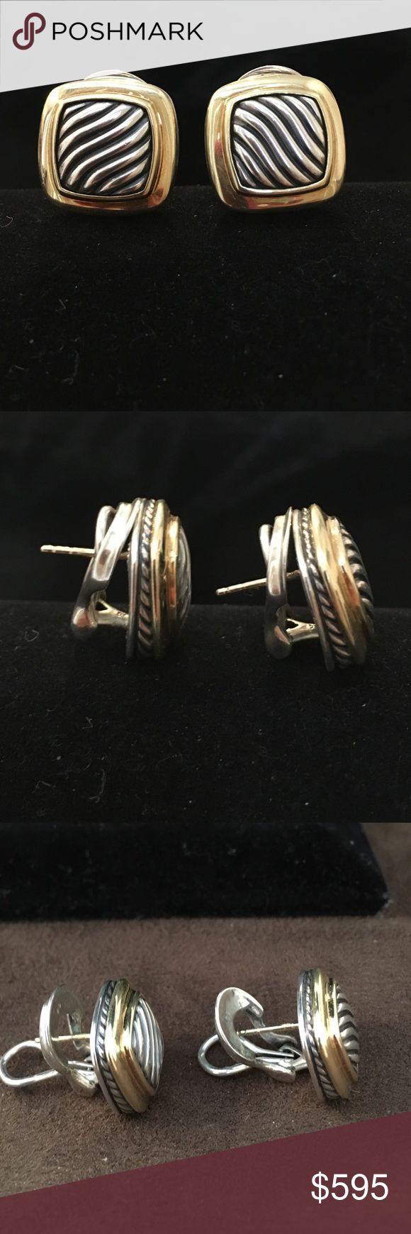 David Yurman SS/18K Carved Cable Albion Earrings David Yurman SS/18K Yellow Gold Carved Cable Double Omega Back Pierced Albion Earrings.  Gently Worn.  Classic Yurman - signature look. David Yurman Jewelry Earrings