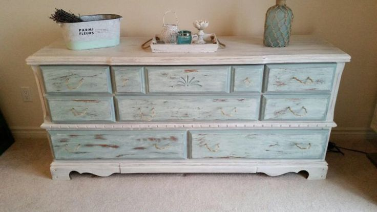 """One-of-a-kind piece! Refinished Palliser dresser-multi-purpose. Could be used for a dresser or sideboard in living room. Excellent condition and much storage. Repainted with Annie Sloan Old White chalk paint and drawers in Duck Egg. Very cottage like feel, goes with a beach or nautical theme as well. Dimensions 66"""" long, 18.5"""" wide and 31"""" high. See @restorationharris on Instagram for more."""