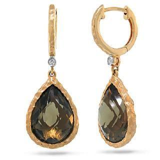 0.02ct Diamond & 8.76ct Smokey Topaz 14k Rose Gold Earring
