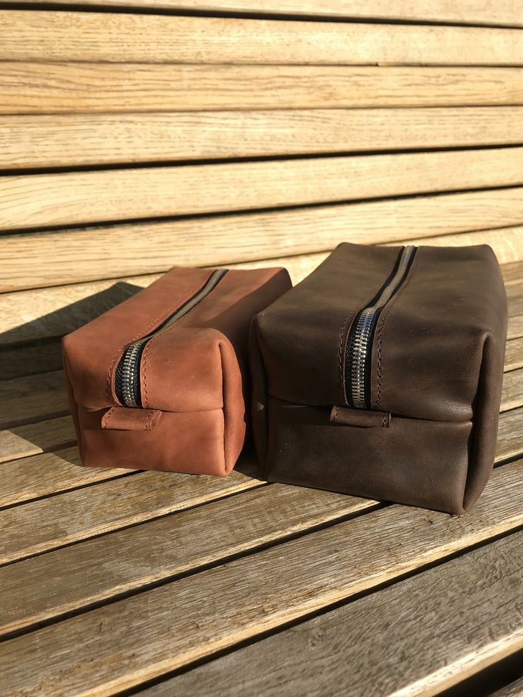 Brown Leather Dopp Kit, Personalized Makeup Bag Large