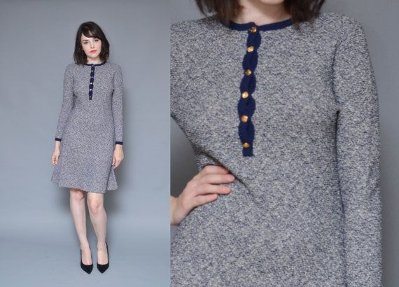 60s BUTTON UP knit sweater dress // shades of blue ringer style mod hippie boho MINIMAL midi fall winter work dress
