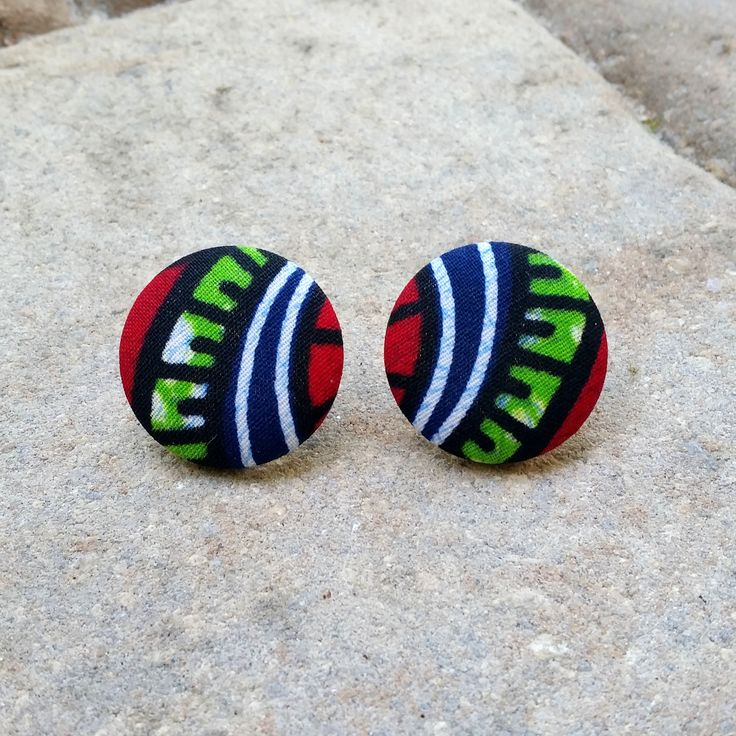 Dayo ~~ African Ankara Fabric Button Earrings