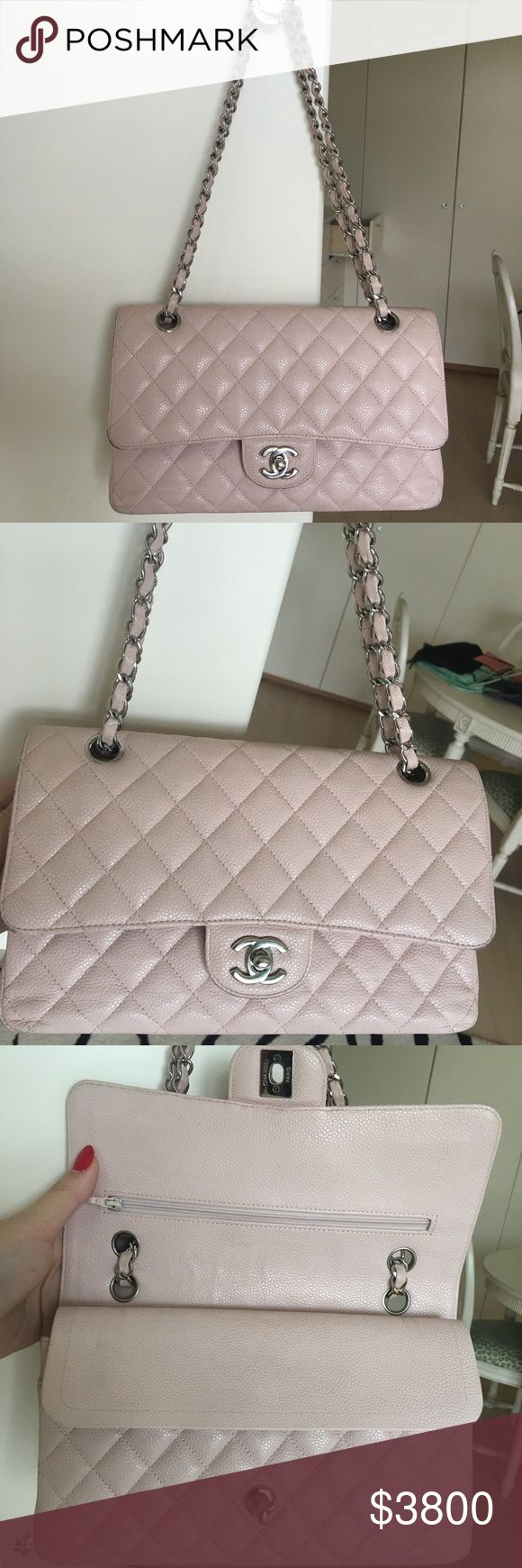 "Chanel Maxi Classic Caviar double flap bag. USED This limited edition Chanel Maxi Classic double flap bag of light pink quilted caviar leather features a front flap with signature CC turnlock closure, half moon back pocket and an adjustable interwoven silver tone chain link and pink leather shoulder strap.The interior is lined in light pink leather with ""zipper compartment under first flap.The bag is a 19-series & comes with Chanel box, Chanel dustbag, retail upc. DISCLOSURES- This is a Pre…"