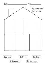 English worksheet: The rooms of the house