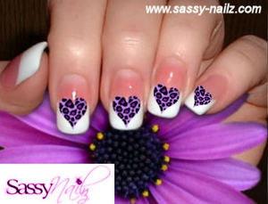 Purple Leopard Hearts Animal Nail Art by SassyNailzIreland on Etsy, $3.00