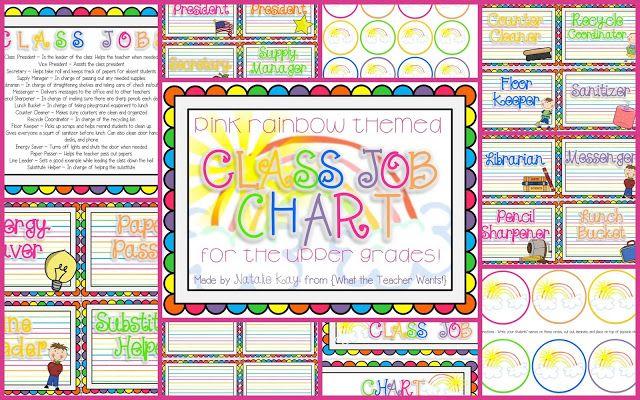 Modern Classroom Jobs ~ New rainbow themed classroom job chart perfect for any