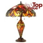 """402-606 - Tiffany-Style 25"""" Halston Stained Glass Double-Lit Table Lamp"""