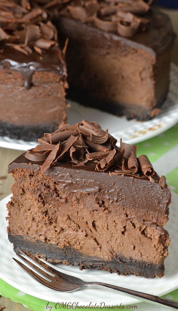 Triple Chocolate Cheesecake with Oreo Crust. The ultimate chocolate lover's dream.
