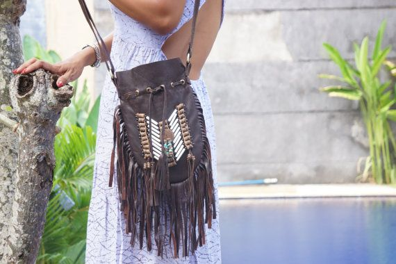 Leather Bag Choco Bohemian Purse  Bohemian by BramsKaraDesign