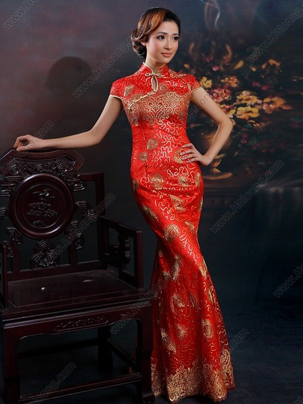 Animal Long Cheongsams Dress Surplice Neck New Style Embroidery Wedding Dresses