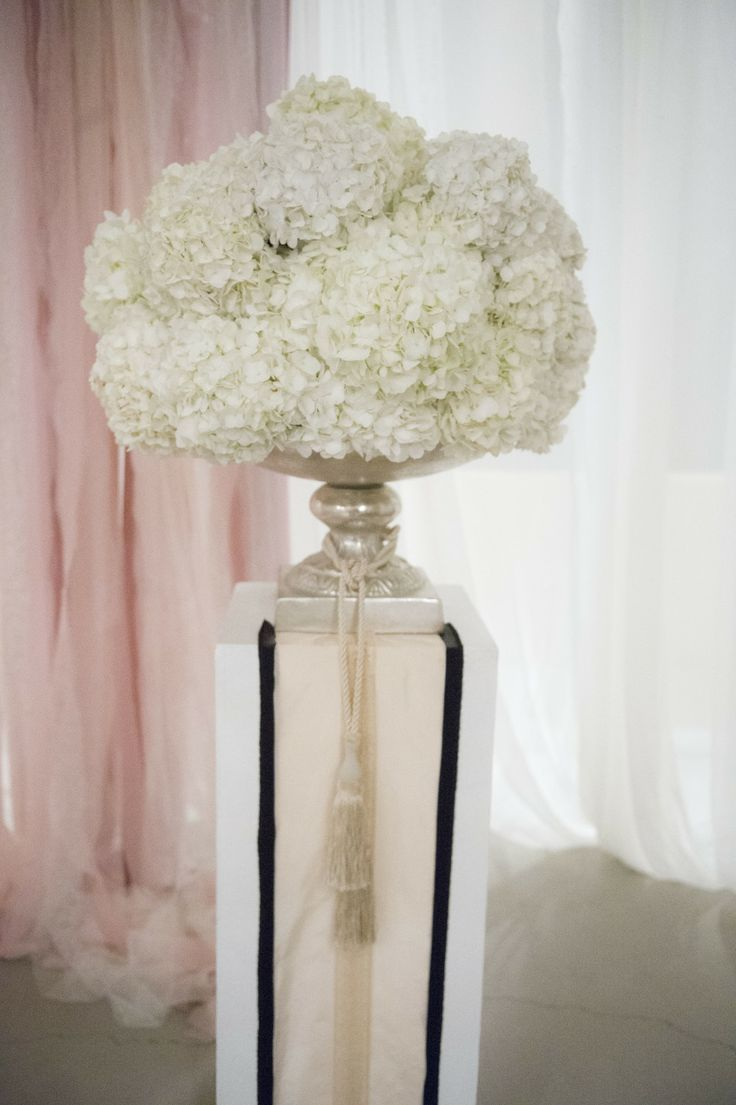 Large Hydrangea Floral Arrangement | See the wedding on SMP: http://www.StyleMePretty.com/2014/01/03/gene-simmons-vow-renewal/ Trish Barker Photography