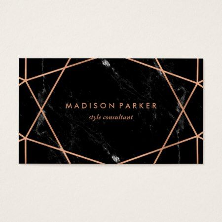 375 best business cards you can buy online images on pinterest modern faux rose gold geometric on black marble business card reheart Choice Image