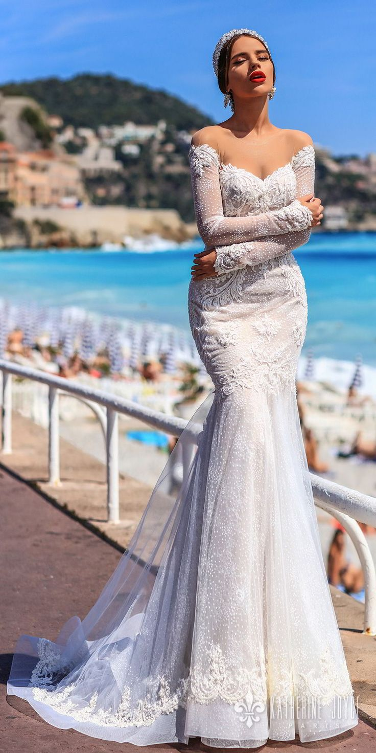 katherine joyce 2018 bridal long sleeves illusion jewel sweetheart neckline full embellishment elegant mermaid wedding dress keyhole back sweep train (valencia) mv -- Katherine Joyce 2018 Wedding Dresses