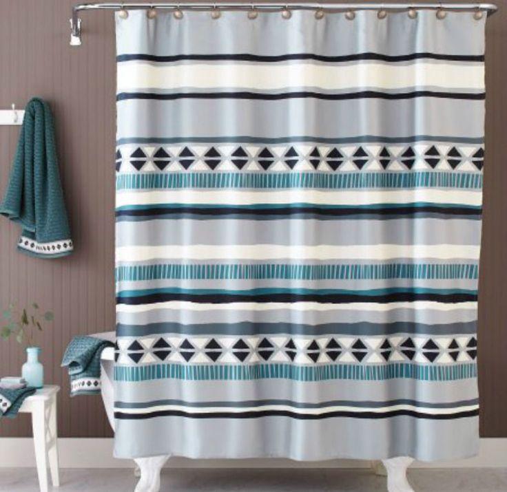 "Better Homes & Gardens Graphic Stripe Fabric Shower Curtain 72""x72"" Multicolor #BetterHomesGardens #Southwestern"