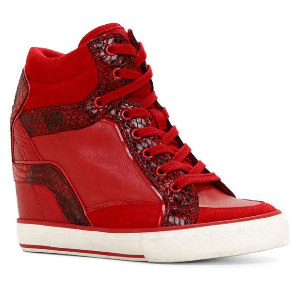 ALDO Bertilla Sneakers ($80) ❤ liked on Polyvore featuring shoes, sneakers, red, wedged sneakers, high heel sneakers, lace up sneakers, red sneakers and lace up shoes